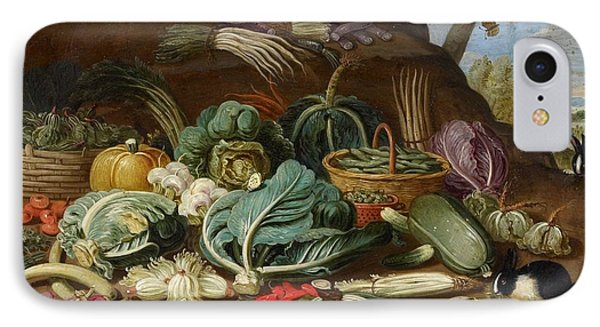 Still Life With Vegetables And A Rabbit Still Life With Fish And Cats In The Kitchen IPhone Case