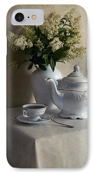 Still Life With White Tea Set And Bouquet Of White Flowers IPhone Case by Jaroslaw Blaminsky