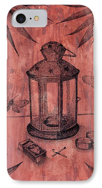 Stillife With Lantern And Night Moths   IPhone Case by Victoria Yurkova