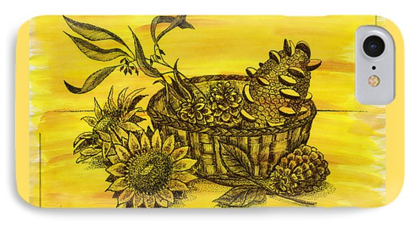 Stillife With Sunflowers, Banksia And Pine Cones In The Wicker B IPhone Case by Victoria Yurkova