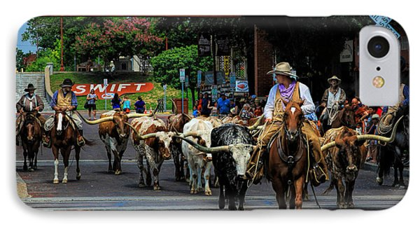 Stockyards Cattle Drive Phone Case by David and Carol Kelly