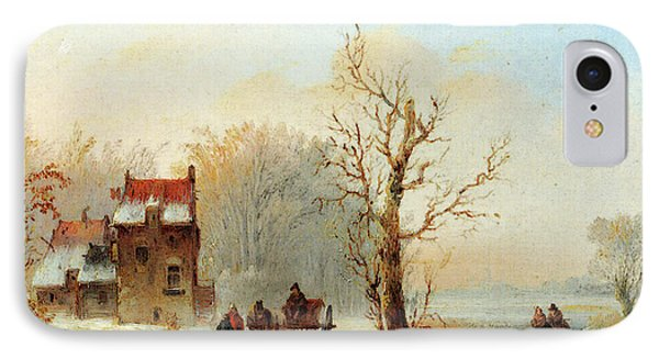 Stok Jacobus Van Der A Winter Landscape With Skaters On A Frozen Waterway And A Horse Drawn Cart IPhone Case by Jacobus Van Der Stok
