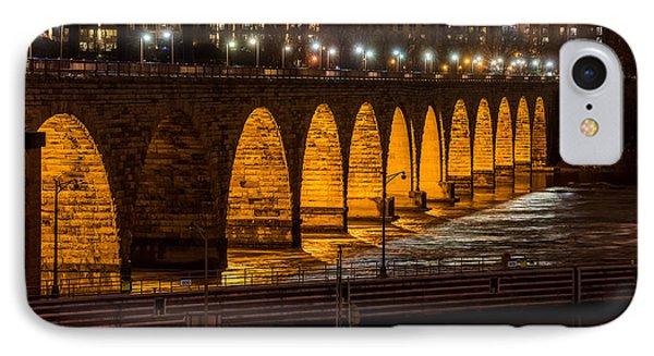 Stone Arch Bridge Night Shot IPhone Case by Paul Freidlund