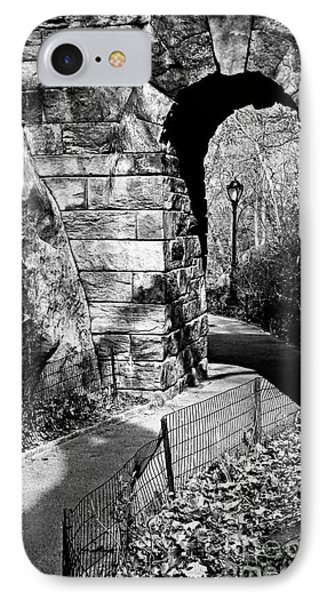 Stone Arch In The Ramble Of Central Park - Bw IPhone Case by James Aiken