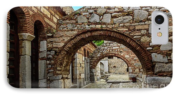Stone Arches And Walkway At Monastery Of Hosios Loukas In Greece IPhone Case by Global Light Photography - Nicole Leffer