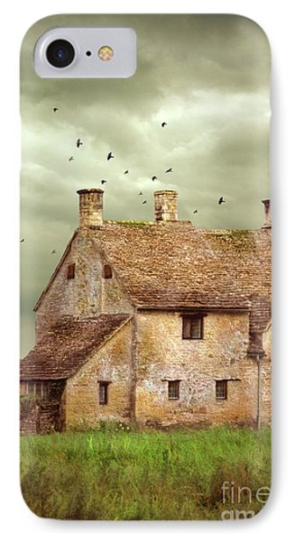Stone Cottage And Stormy Sky IPhone Case by Jill Battaglia