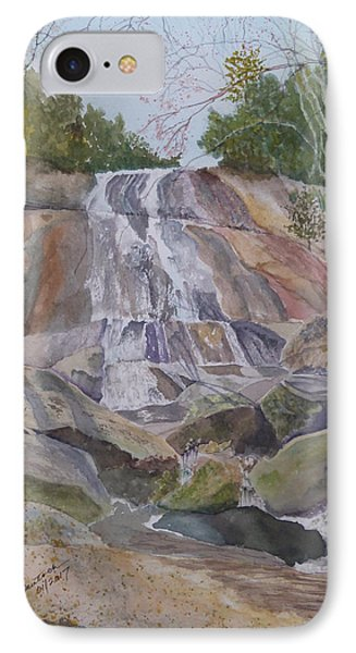 IPhone Case featuring the painting Stone Mountain Falls April 2013 by Joel Deutsch