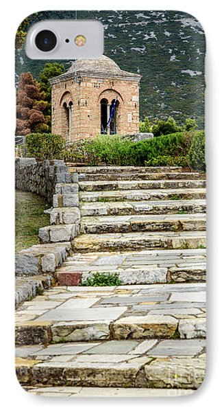 Stone Stair Walkway At Moni Osios Loukas In Distomo, Greece IPhone Case by Global Light Photography - Nicole Leffer