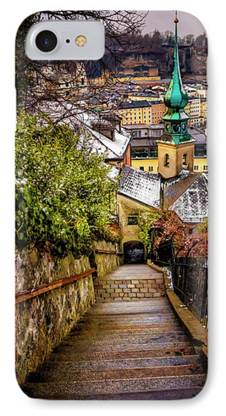 Stone Steps Of Kapuzinerberg Salzburg In Winter IPhone Case by Carol Japp