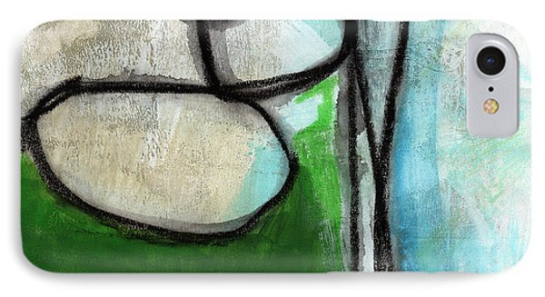 Stones- Green And Blue Abstract IPhone Case by Linda Woods