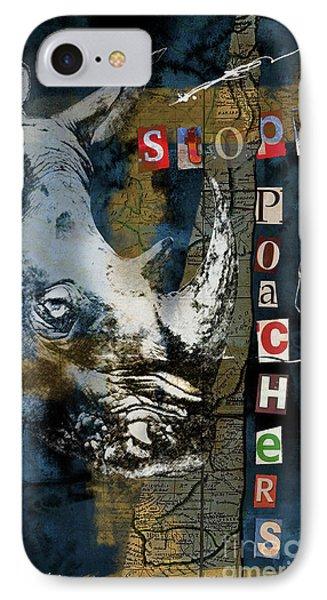 Stop Rhino Poachers Wildlife Conservation Art IPhone Case