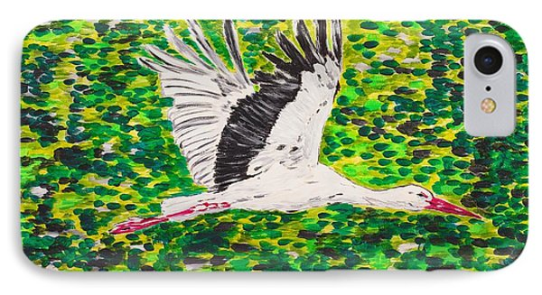 Stork In Flight IPhone Case by Valerie Ornstein