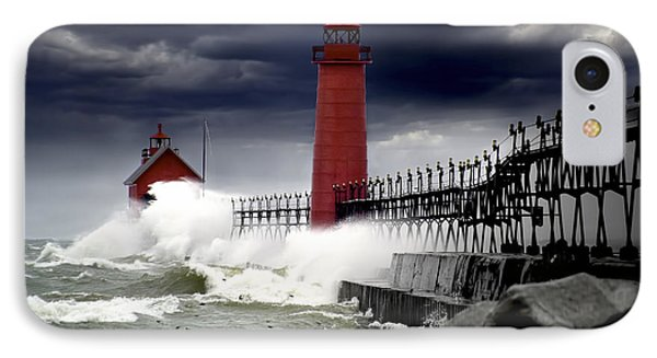 Storm At The Grand Haven Lighthouse IPhone Case by Randall Nyhof