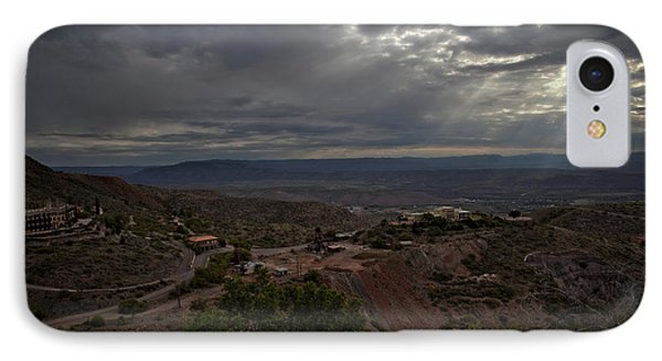IPhone Case featuring the photograph Storm Clouds And Suns Rays Jerome Az by Ron Chilston