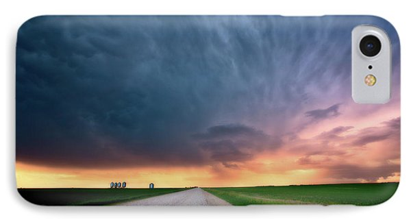Storm Clouds Over Saskatchewan Country Road Phone Case by Mark Duffy