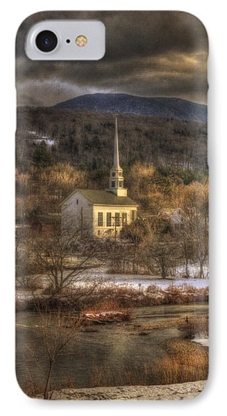 Storm Clouds Over White Church - Stowe Vermont IPhone Case by Joann Vitali