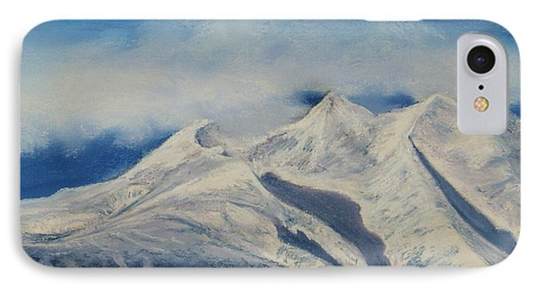 IPhone Case featuring the painting Storm Clouds Over Winter Mountain Blues by Stanza Widen