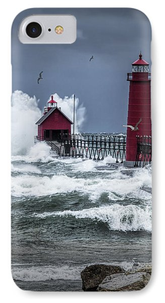 Storm On Lake Michigan By The Grand Haven Lighthouse With Flying Gulls IPhone Case by Randall Nyhof