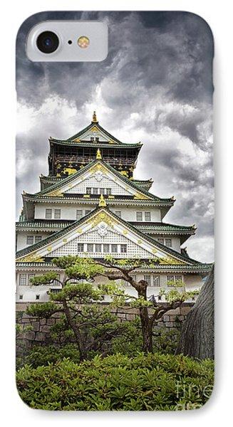 Storm Over Osaka Castle IPhone Case by Jane Rix
