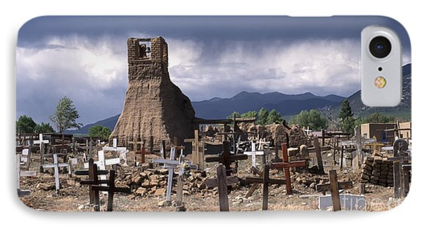 Storm Over Taos Graveyard IPhone Case by Sandra Bronstein