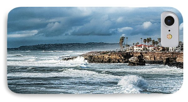 Storm Wave At Sunset Cliffs IPhone Case by Daniel Hebard