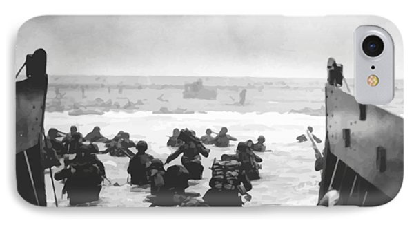 Storming The Beach On D-day  Phone Case by War Is Hell Store
