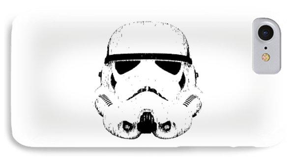 Stormtrooper Helmet Star Wars Tee Black Ink IPhone Case by Edward Fielding