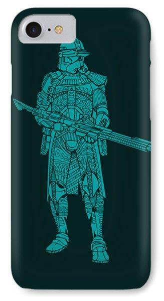 Stormtrooper Samurai - Star Wars Art - Blue 03 IPhone Case