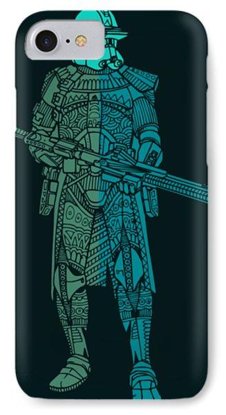 Stormtrooper Samurai - Star Wars Art - Blue, Navy, Teal IPhone Case
