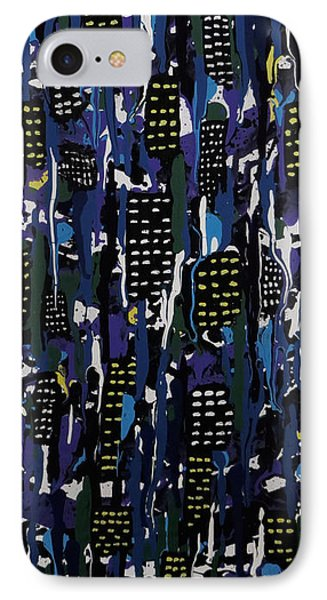 IPhone Case featuring the painting Stormy Night In The City by Teresa Wing