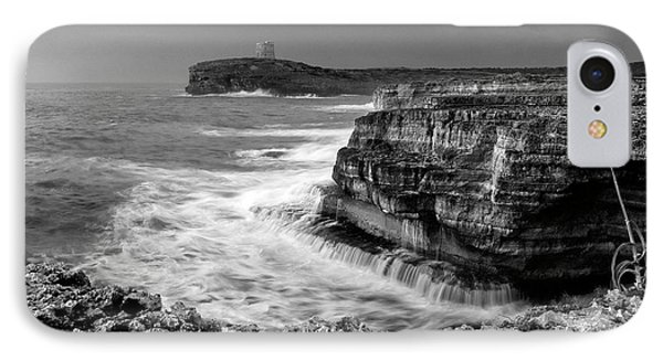 IPhone Case featuring the photograph stormy sea - Slow waves in a rocky coast black and white photo by pedro cardona by Pedro Cardona