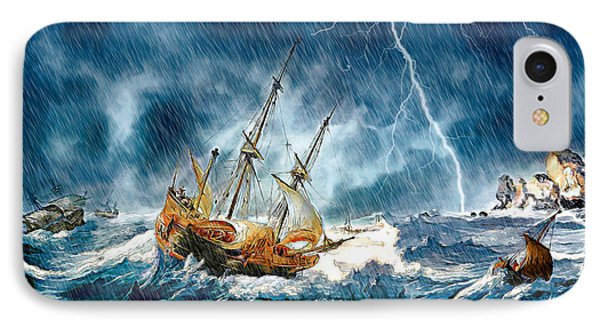 IPhone Case featuring the digital art Stormy Seas by Pennie McCracken
