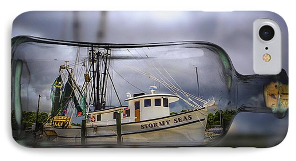 IPhone Case featuring the photograph Stormy Seas - Ship In A Bottle by Bill Barber