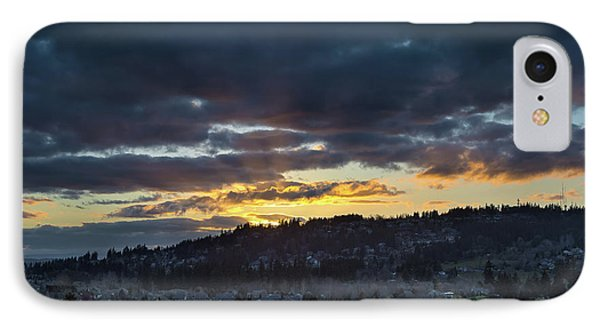 Stormy Sunset Over Happy Valley Oregon Phone Case by David Gn