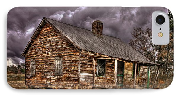 IPhone Case featuring the photograph Stormy Times Tenant House Greene County Georgia Art by Reid Callaway