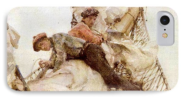 IPhone Case featuring the painting Stowing The Headsails  by Henry Scott Tuke