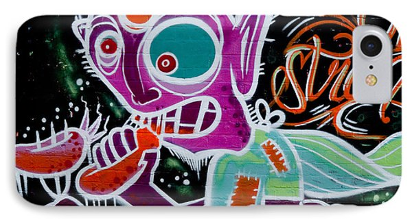 IPhone Case featuring the painting Strange Graffiti Creature Eaitng Sausagees by Yurix Sardinelly