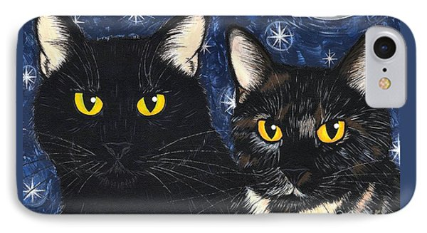 Strangeling's Felines - Black Cat Tortie Cat IPhone Case by Carrie Hawks