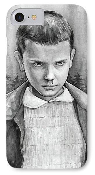 Stranger Things Fan Art Eleven IPhone Case by Olga Shvartsur