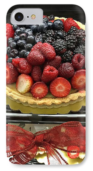 IPhone Case featuring the photograph Strawberries Rasberries Luscious Dessert Fruit Pie With Red Bow  by Kathy Fornal
