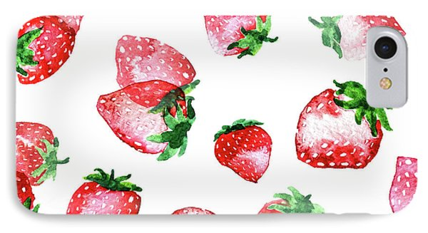 Strawberries IPhone 7 Case by Varpu Kronholm