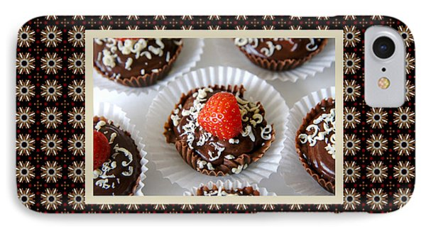 IPhone Case featuring the photograph Strawberry And Dark Chocolate Mousse Dessert by Shelley Neff