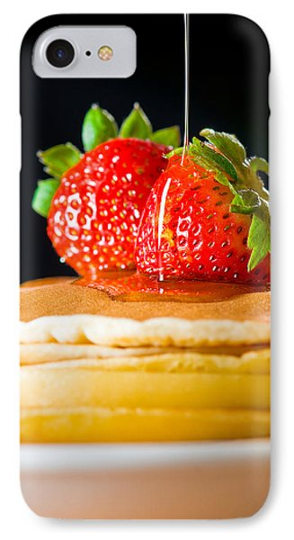 Strawberry Butter Pancake With Honey Maple Sirup Flowing Down Phone Case by Ulrich Schade
