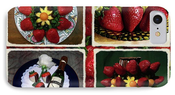 Strawberry Collage IPhone Case by Sally Weigand