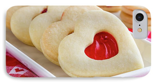 IPhone Case featuring the photograph Strawberry Jam Filled Heart Cookies by Teri Virbickis