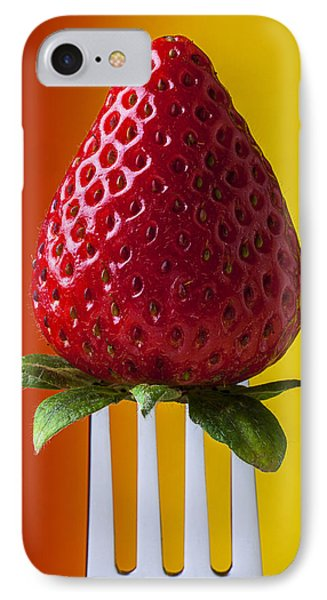 Strawberry On Fork IPhone 7 Case by Garry Gay