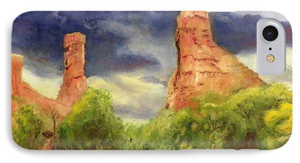 IPhone Case featuring the painting Strawberry Pinnacles by Sherril Porter