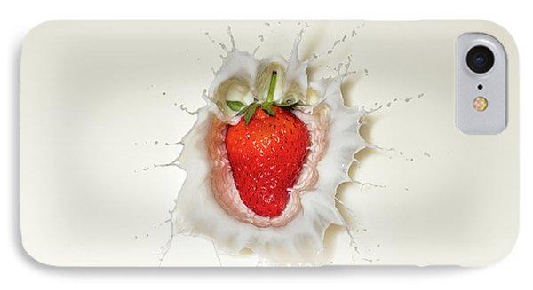 Fruits iPhone 7 Case - Strawberry Splash In Milk by Johan Swanepoel