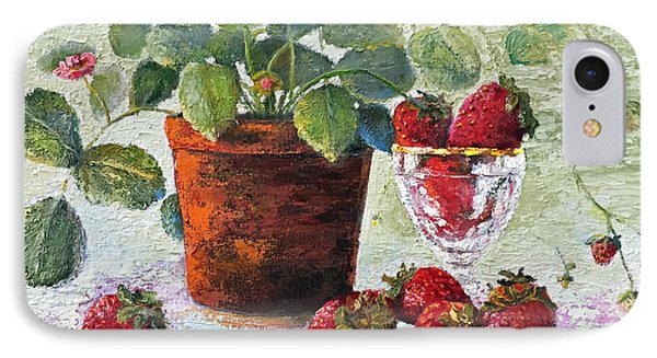 IPhone Case featuring the painting Strawberry Still Life by Marlene Book