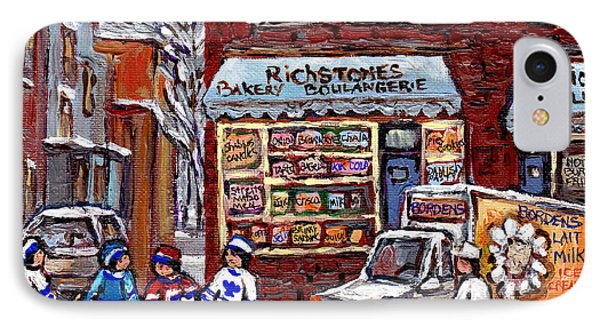 Street Hockey And Borden's Milk Man At Richstone Bakery And Quick Deli Montreal Memories Painting   IPhone Case by Carole Spandau